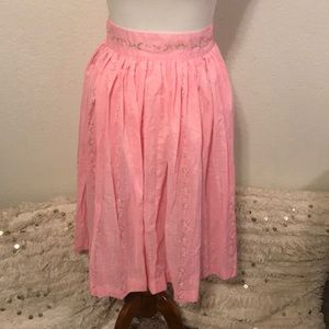 Vintage 1950's Pink Floral Pleated Skirt Small